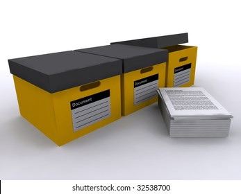 A group of three yellow document boxes