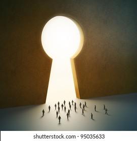 Group of tiny people walking into a gate shaped like a keyhole
