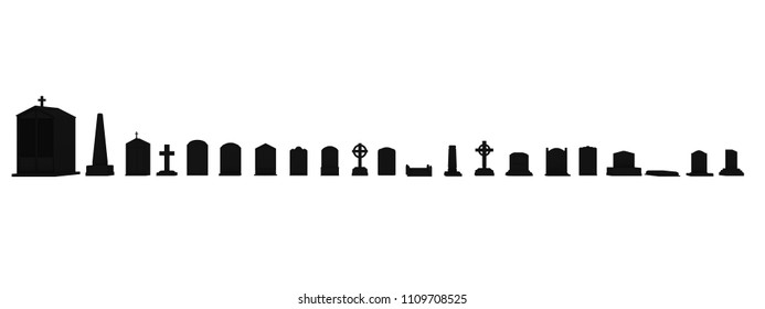 group of tombstones isolated on white background 3d illustration
