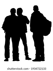 Group of tourists with photo camera. Isolated silhouettes of people on a white background