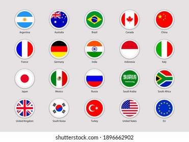 The Group of Twenty flags stickers. Round icons. G20 flag with members countries names. USA ,Canada, France, Germany, Italy, Japan, UK, EU, China simple badges. Circle geometric shape