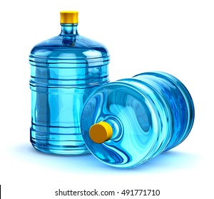 Group of two blue 19 liter or 5 gallon plastic water bottles container isolated on white background