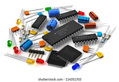 Group of various electronic components: microprocessors, logical digital microchips, transistors, capacitors, resistors, LEDs etc. isolated on white background