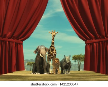 Group of wildlife animals standing in front of a opened curtain.  This is a 3d render illustration