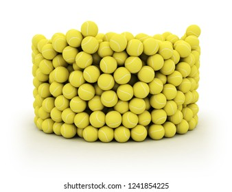 Group of yellow tennis balls in a cyliner bucket shape isolated on white background