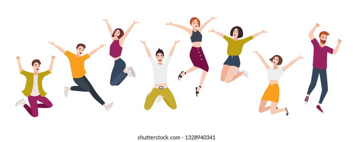 Group of young happy people jumping together with raised hands. Smiling positive men and women isolated on white background. Happiness, fun and rejoice. Flat cartoon colorful illustration
