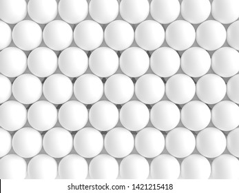 grouping of white spheres in geometric pattern. 3d image render.