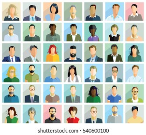 Groups Faces Person Portrait, 3D illustration
