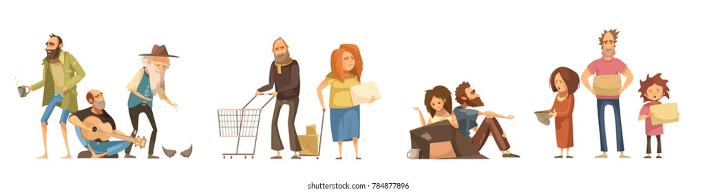 Groups of homeless people set in cartoon style with singing men family couples kids  isolated  illustration