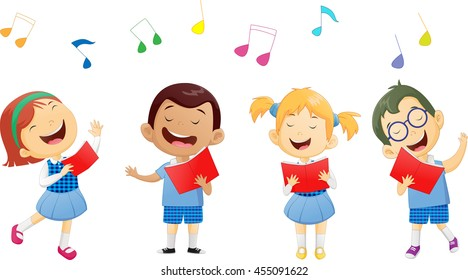 groups of school children singing in choir