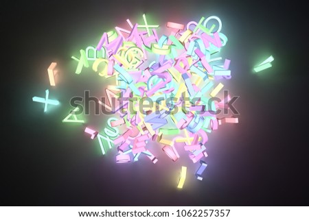 Grow Neon 3D Rendering Letter Of ABC Alphabetic Character CGI Typography For