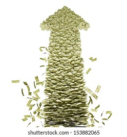 Growing. Arrow-shaped pile of money. Isolated on white.