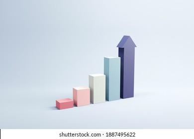 Grafik mit steigendem Pfeil, 3D-Rendering, Fortschritt und Fortschritt kreatives Konzept der Errungenschaft