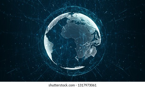 Growing global network and data connections concept. Abstract scientific technology data network surrounding planet earth conveying connectivity, complexity and data flood of modern digital age.