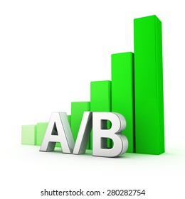 Growing green bar graph of AB on white. Landing page test concept.
