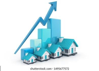 Growing home sale graph. 3d render