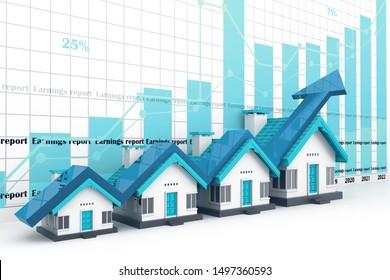 Wachsende Eigenheimverkaufskurve. 3D-Darstellung