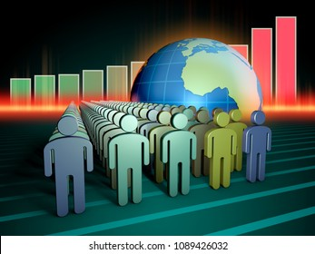 Growing human population and Earth. 3D illustration.