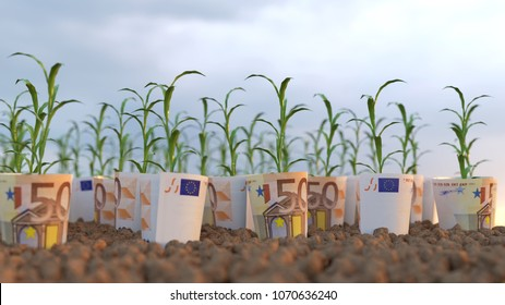growing plants from financial investments, 3d illustration