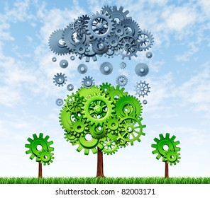 Growing Profits with investing in new technologies with a green tree and a rain cloud made of gears and cogs showing the concept of success for companies that invest in research and development.