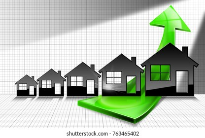 Growing real estate sales - 3D illustration of five house-shaped symbols and a graph of growth with a green arrow