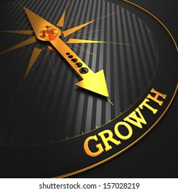 """Growth - Business Background. Golden Compass Needle on a Black Field Pointing to the Word """"Growth"""". 3D Render."""