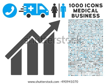 Growth Chart Icon 1000 Medical Business Stock Illustration 490941070