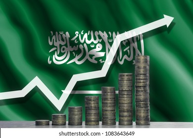 Growth chart. White arrow pointed to the top against a background of coins and a flag Saudi Arabia