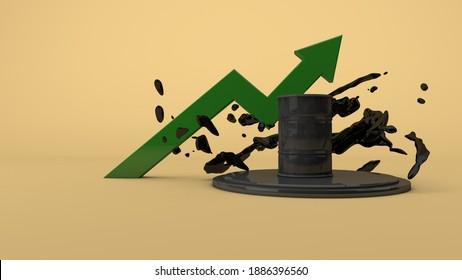 Growth of crude oil prices, Oil barrel black liquid Petroleum industry. 3D Render