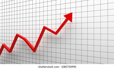 Growth diagram with red arrow going up on white background in success business concept. 3d illustration