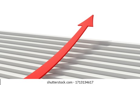 Growth diagram with red arrow going up on staircase in success business strategy, marketing or trade stock market concept. 3d abstract illustration. The right direction on chart.