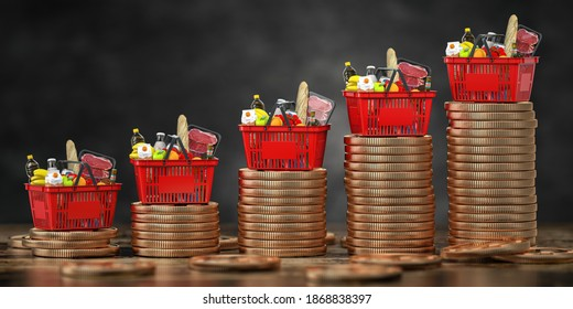 Growth of food sales or growth of market basket or consumer price index concept. Shopping basket with foods on coin stacks. 3d illustration
