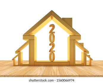 Growth in real estate concept. Golden house icons of various sizes with number 2020 inside. 3D illustration.