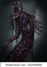 Gruesome Evil Monster, Concept Art for Horror Movie, Video Game Digital CG Artwork. Book Cover. Realistic Illustration.