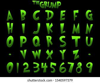 The Grump Cartoon Alphabet - 3D Illustration