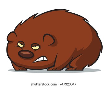 A grumpy wombat cartoon