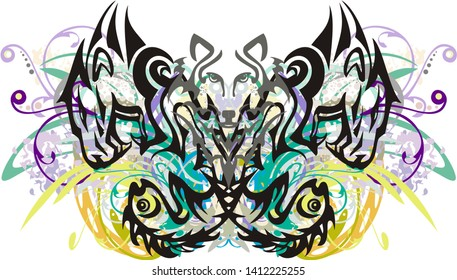Grunge abstract colorful tribal butterfly wings splashes. Floral butterfly wings formed by patterns of the lion's heads and fishes and an element of the head of a wolf