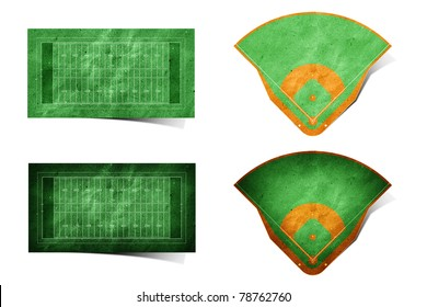 Grunge american football and baseball field recycled paper craft stick on white background