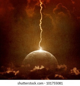 Grunge background - big lightning hit planet Earth in dark dramatic sky