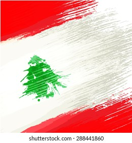Grunge background in colors of lebanese flag