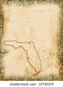 Grunge background with a Florida map outline.