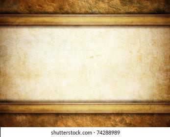 grunge background with golden frame