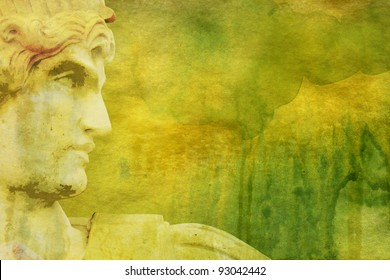 Grunge background with Greek style statue