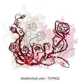 Grunge background with roses.