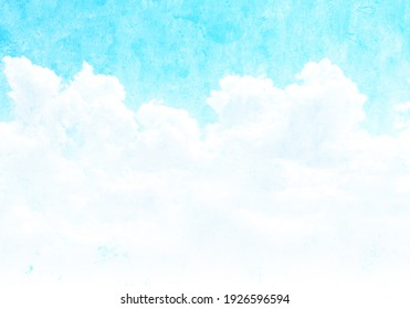 Grunge background with texture of old soiled paper of blue color and white clouds. Horizontal vintage nature backdrop. Mock up template. Copy space for text