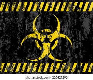 grunge biohazard sign background illustration.