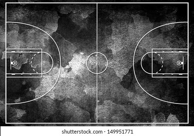 Grunge black Basketball court