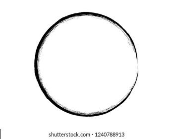 Grunge black circle made for logo design.Grunge black ink circle.Grunge oval frame made of ink.