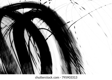 grunge black ink paint.isolated on white background.for new design art or brush style