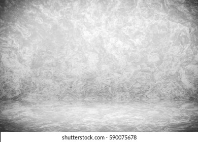 Grunge black and white studio backdrop with space for vintage presentation background ,3D rendering